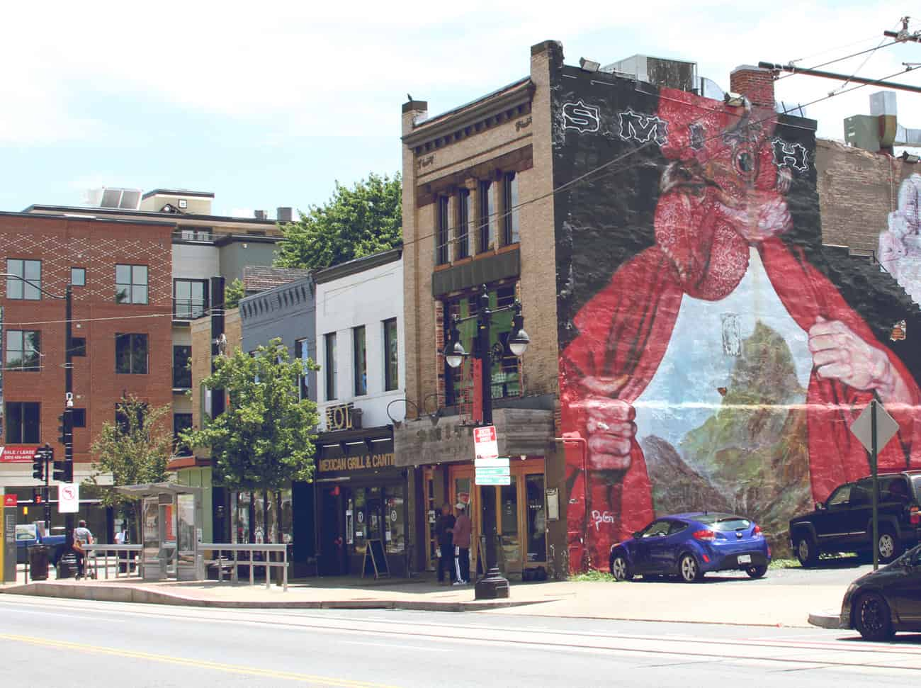 Storefronts and mural on H Street