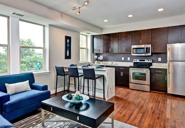 Metropolitan Overlook sample unit kitchen and living room